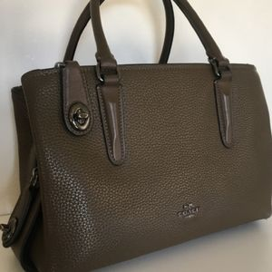 COACH BROOKLYN SATCHEL TAUPE OLIVE LEATHER